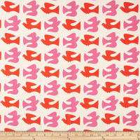 Cloud 9 Organic Holding Pattern Barkcloth On The Fly Orange