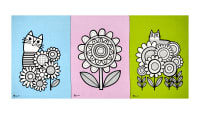 "Cloud 9 Organic British Invasion Jane Foster  Tea Towels 24.5"" Panel Blue/Pink/Green"
