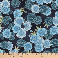 Kaufman Imperial Collection Metallic Flower Bunches Indigo
