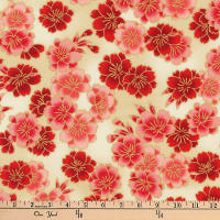 Kaufman Imperial Collection Metallic Flower Bunches Crimson