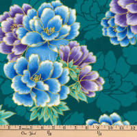 Kaufman Imperial Collection Metallic Flowers Teal