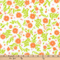 Kaufman Cozy Cotton Flannel Floral Orange