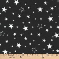 Kaufman Cozy Cotton Flannel Stars Black