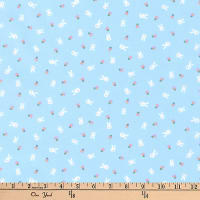 Kaufman Mini Prints Bunnies Blue