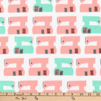 Kaufman Sew Dressed Up Machines Seafoam