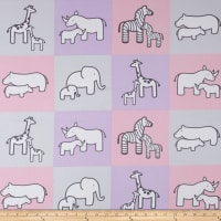Kaufman Little Safari Flannel Blocks Pink