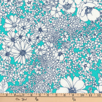 Kaufman Laurel Canyon Tight Floral Aqua