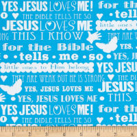 Jesus Loves Me 2 Words Blue