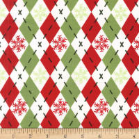 Michael Miller Woodland Winter Argyle Sweater Hollyberry