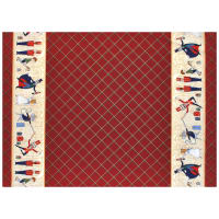 Michael Miller Nutcracker Metallic Act 1 Double Border Burgundy