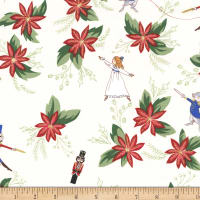 Michael Miller Nutcracker Metallic Nutcradker Floral Cream