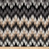 Chevron Stretch Techno Scub Knit Aztec Black/Taupe
