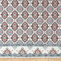 Rayon Crepe Double Border Medallion Ivory/Lucite