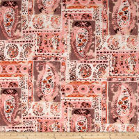 Bubble Crepe Large Paisley Coral/Tan