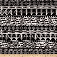 Techno Scuba Knit Tribal Print Black/Ivory