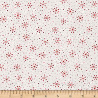 Moda Red Dot Green Dash Brushed Cottons Snowflakes Dots Winterwhite/Red