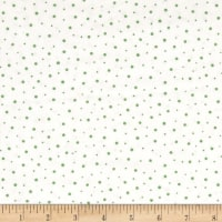Moda Red Dot Green Dash Brushed Cottons Flurries Winter White/Green