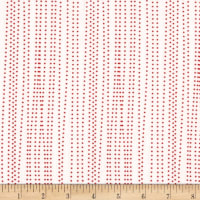 Moda Red Dot Green Dash Brushed Cottons Sleet Winter White/Red