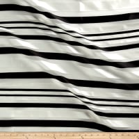 Telio Sheer Satin Organza Stripe Black/White Sateen