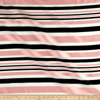 Telio Sheer Satin Organza Stripe Black/Pink