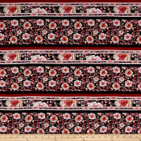 Rayon Challis Flowers Burgundy/Black