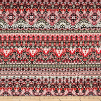 Rayon Challis Geometric Red/Green
