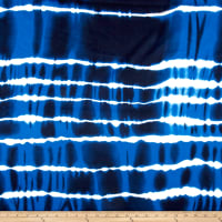 Rayon Challis Stripe Tye Dye Blue/White/Black