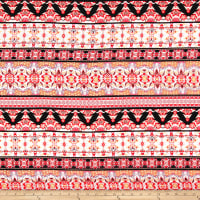 Rayon Challis Stripe Borders Pink/ Black