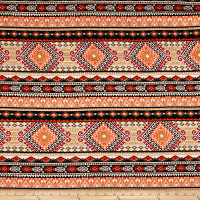 Rayon Challis Aztec Stripe Black/Orange