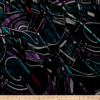 Telio Rayon/Silk Velvet Burnout Art Deco Black/Purple/Teal