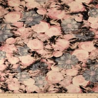Telio Venice Stretch ITY Knit Floral Pink/Grey
