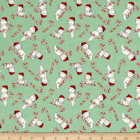 Riley Blake Kewpie Christmas Candy Cane Green