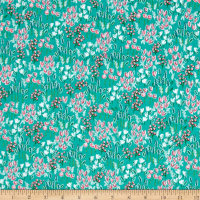 Riley Blake Curiosities Field of Flowers Teal