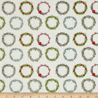 Riley Blake Comfort and Joy Wreaths Cream
