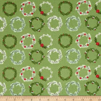 Riley Blake Comfort and Joy Wreaths Green