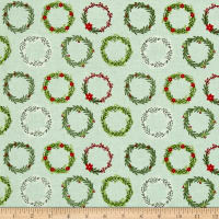 Riley Blake Comfort and Joy Wreaths Light Green