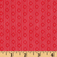 Penny Rose Linen and Lawn Stripe Red
