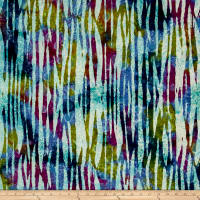 Indian Batik Abstract Stripe Blue/Purple/Olive