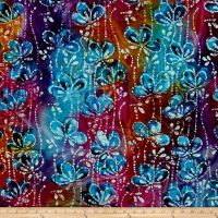 Indian Batik Floral Vine Purple/Blue/Orange