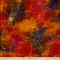 Indian Batik Abstract Red/Orange/Blue