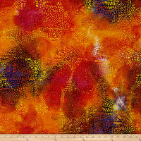 Indian Batik Leaf Dots Red/Orange/Blue