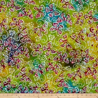 Indian Batik Butterflies Aqua/Yellow/Green