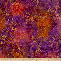 Indian Batik Scroll Purple/Wine/Brown