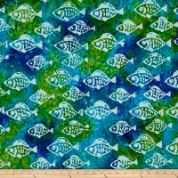 Indian Batik Small Fish Aqua/Lima
