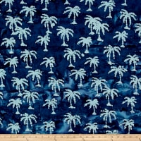 Indian Batik Small Palm Tree Navy/White