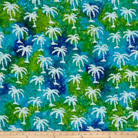 Indian Batik Small Palm Tree Aqua/Lime