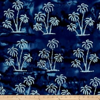 Indian Batik Large Palm Tree Navy/White