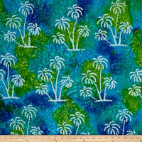 Indian Batik Large Palm Tree/Aqua/Lime