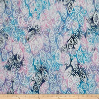 Indian Batik Abstract Blue/Pink