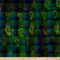 Indian Batik Woven Paisley Blue/Green
